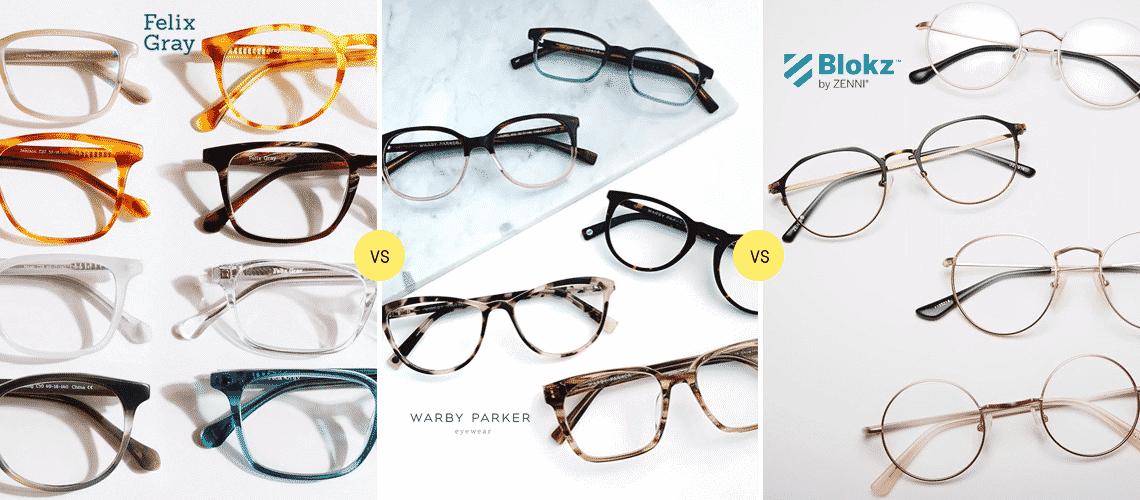 Felix Gray vs Warby Parker vs Blokz by Zenni Reviews